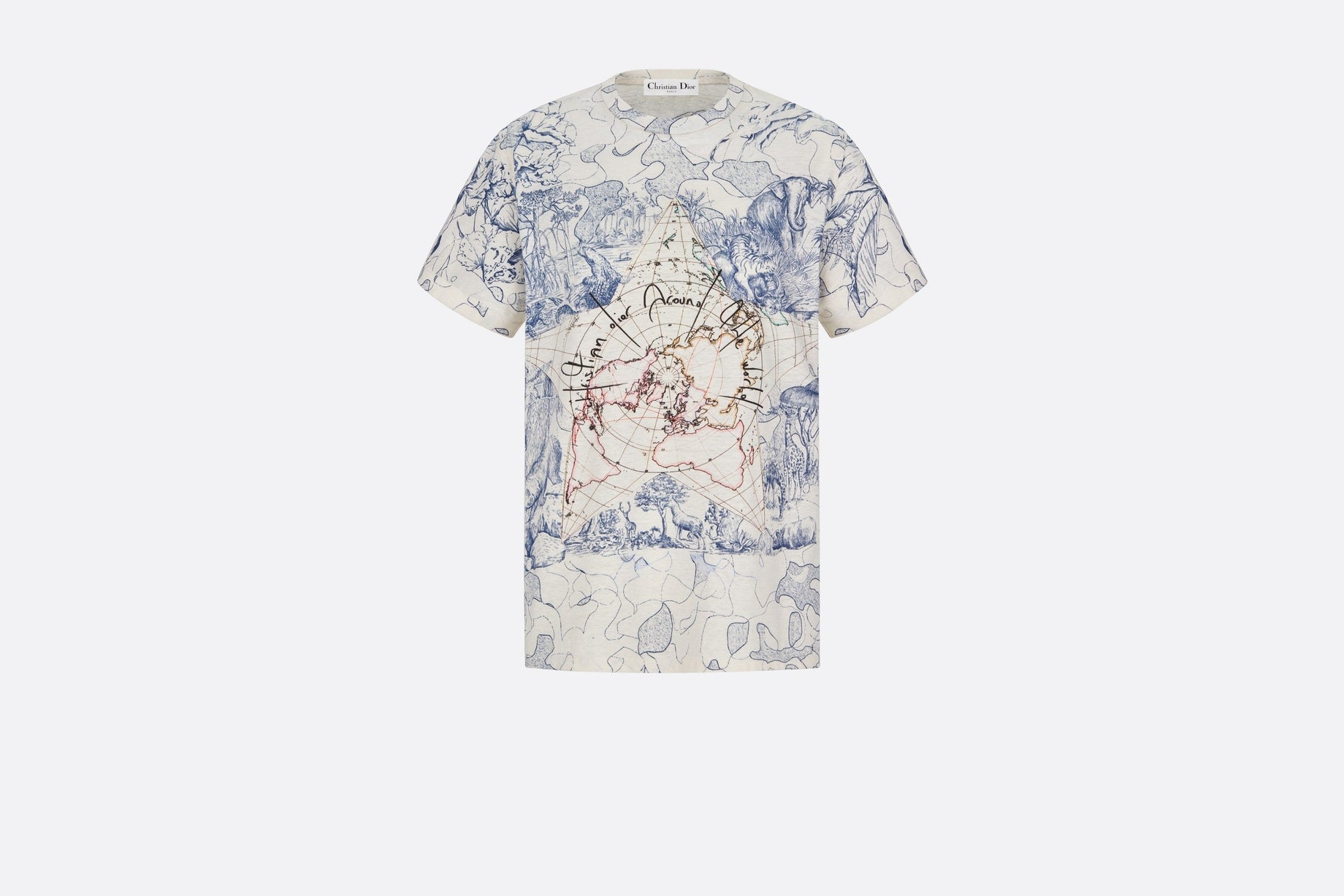 T-Shirt • White Cotton and Linen with Blue Dior Around The World Print
