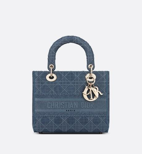 Medium Lady D-Lite Bag • Dark Denim Blue Cannage Embroidery