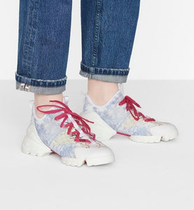 D-Connect Sneaker • Blue Technical Fabric with Dior Around the World Print
