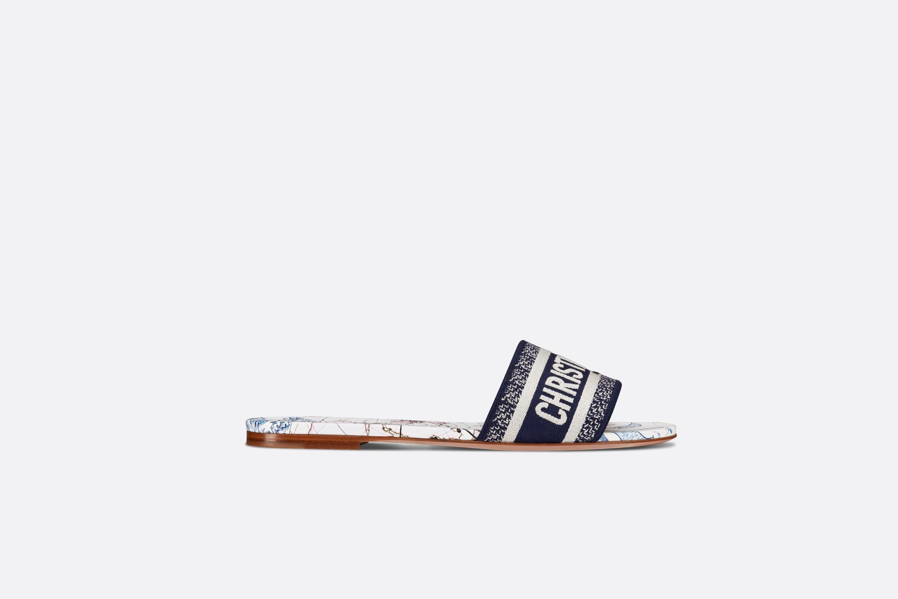 Dway Slide • Blue Dior Around the World Embroidered Cotton