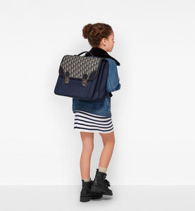 School Backpack • Blue Dior Oblique Technical Canvas