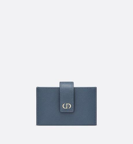 30 Montaigne 5-Gusset Card Holder • Dark Denim Blue Grained Calfskin