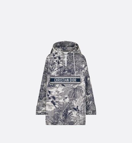 Hooded Anorak • White and Blue Toile de Jouy Tropicalia Technical Taffeta