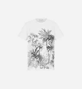 T-Shirt • White Cotton and Linen with Navy Blue Toile de Jouy Tropicalia