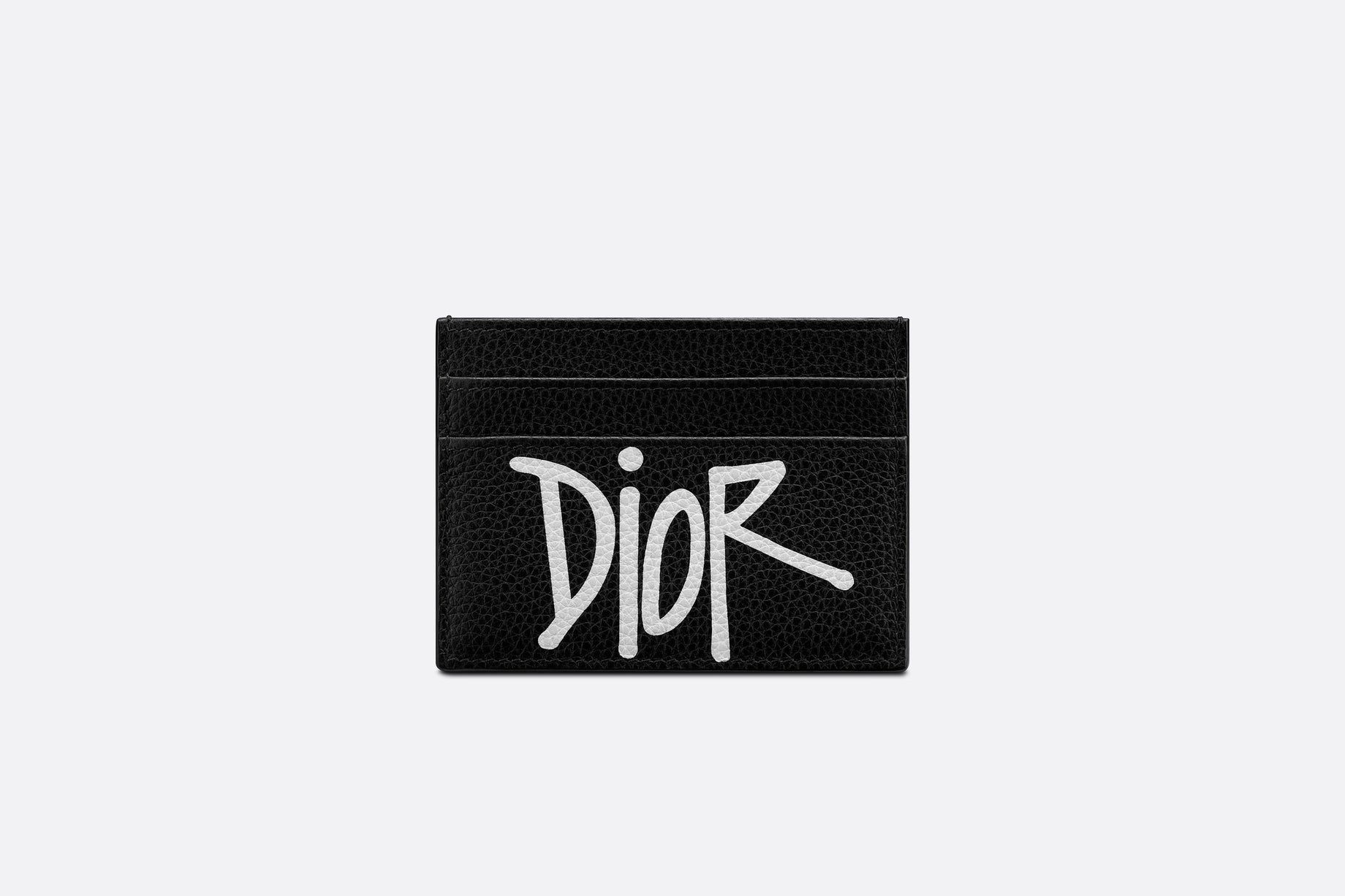 Card Holder • Black Grained Calfskin with DIOR AND SHAWN Signature