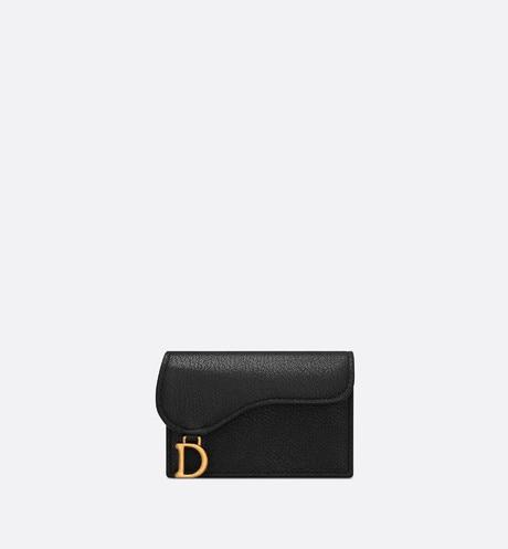 Saddle Flap Card Holder • Black Goatskin
