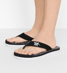 Flip-Flops • Black Nylon with DIOR AND SHAWN Embroidery
