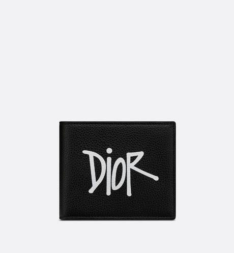 Wallet • Black Grained Calfskin with DIOR AND SHAWN Signature