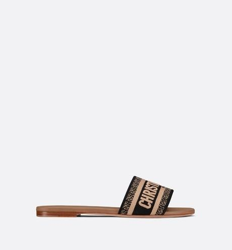 Dway Slide • Black and Beige Embroidered Cotton