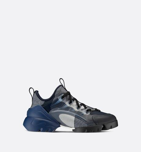 D-Connect Sneaker • Dark Blue and Gray Technical Fabric with Camouflage Print