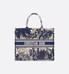Dior Book Tote • Blue Dior Around the World Embroidery