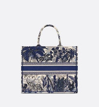 Load image into Gallery viewer, Dior Book Tote • Blue Dior Around the World Embroidery