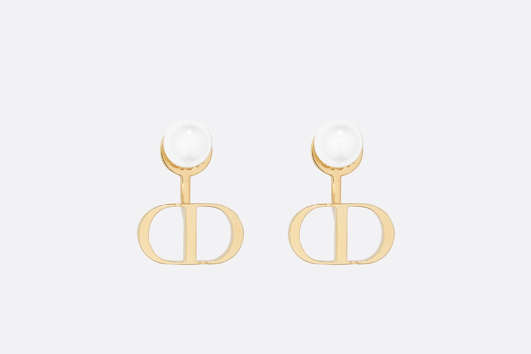 Petit CD Earrings • Gold-Finish Metal and White Resin Pearls