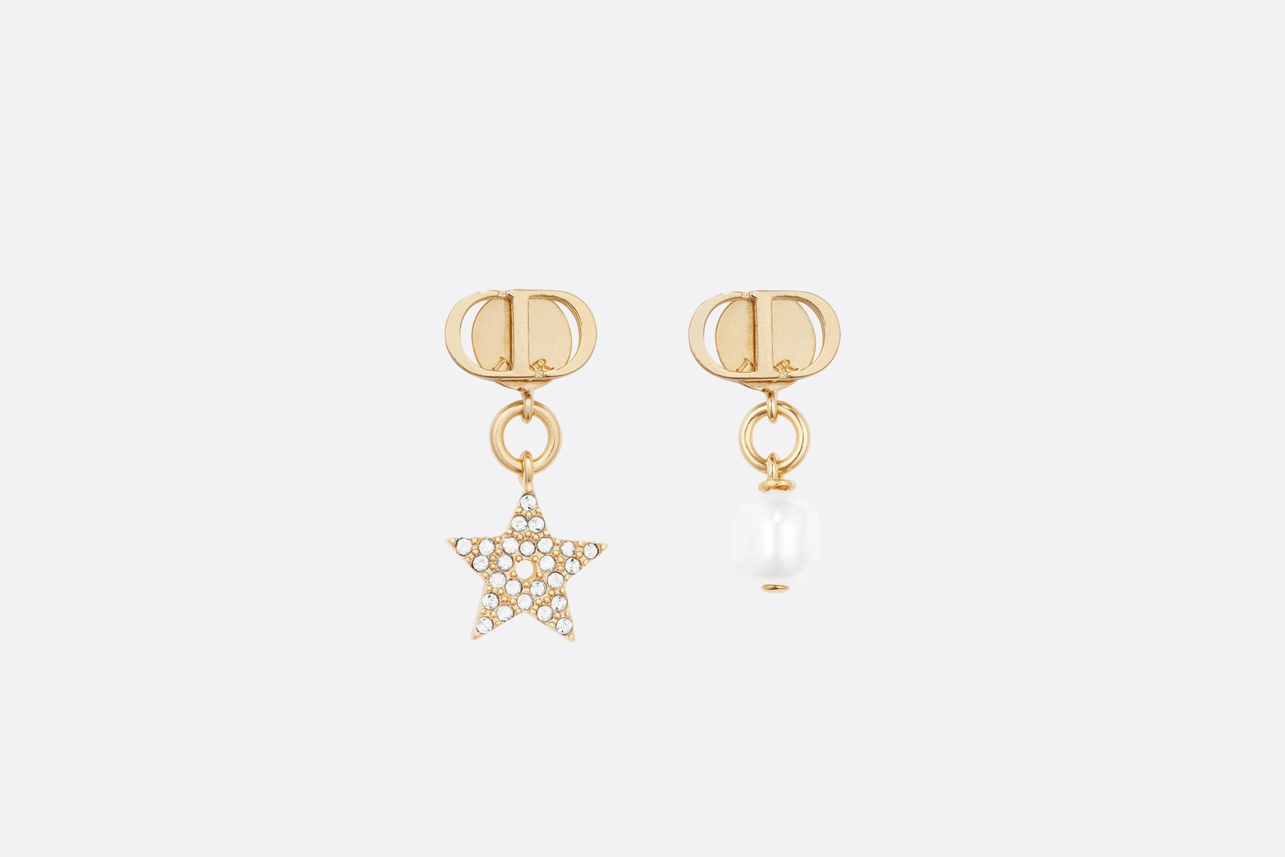 Petit CD Earrings • Gold-Finish Metal, White Crystals and White Glass Pearls
