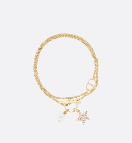 Petit CD Double Bracelet • Gold-Finish Metal with a White Glass Pearl and White Crystals