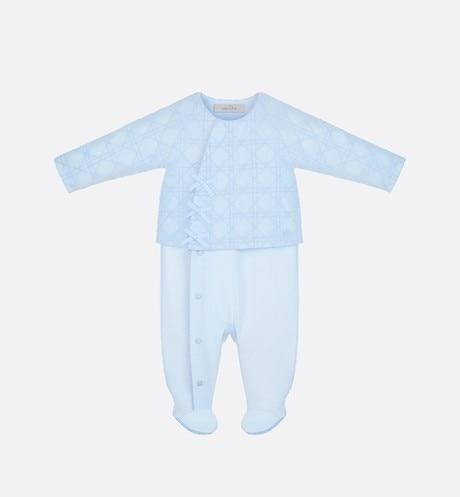 Cannage Sleepsuit • Sky Blue Cotton Poplin