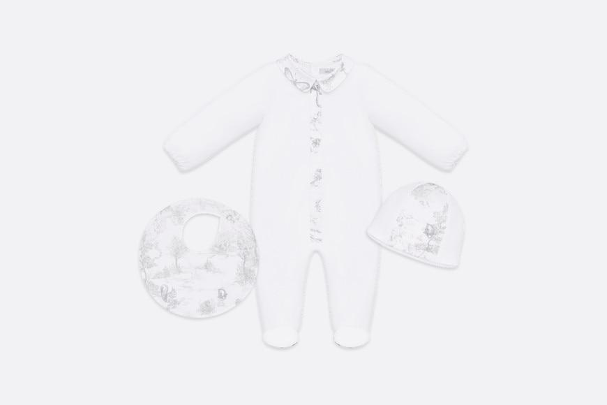 Newborn Gift Set • Gray Cotton Satin with Toile de Jouy Print