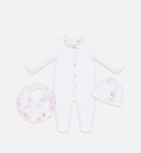 Newborn Gift Set • Powder Pink Cotton Satin with Toile de Jouy Print