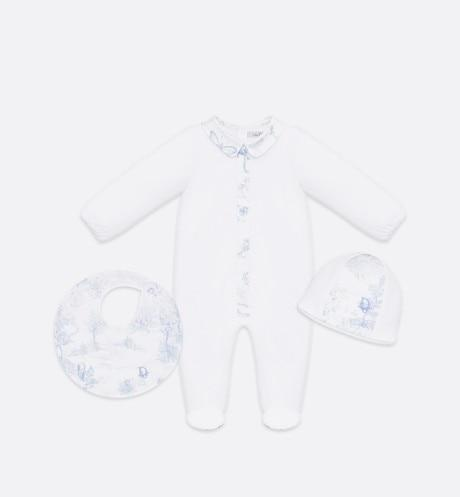 Newborn Gift Set • Pale Blue Cotton Satin with Toile de Jouy Print