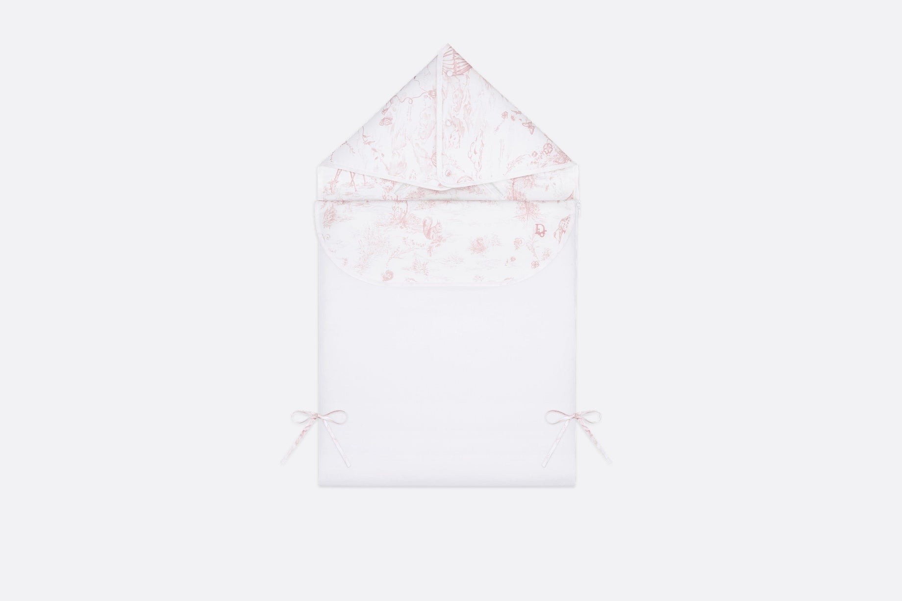 Bunting Bag • Powder Pink Cotton Satin with Toile de Jouy Print