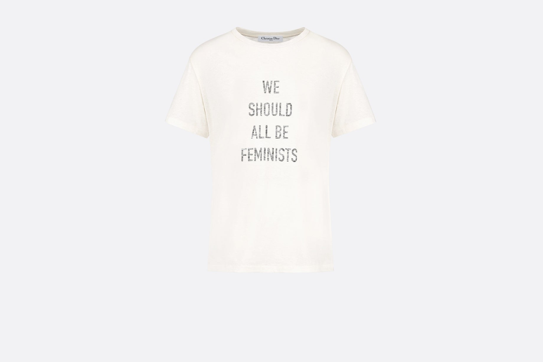 T-shirt • White Cotton and Linen with 'We Should All Be Feminists' Print
