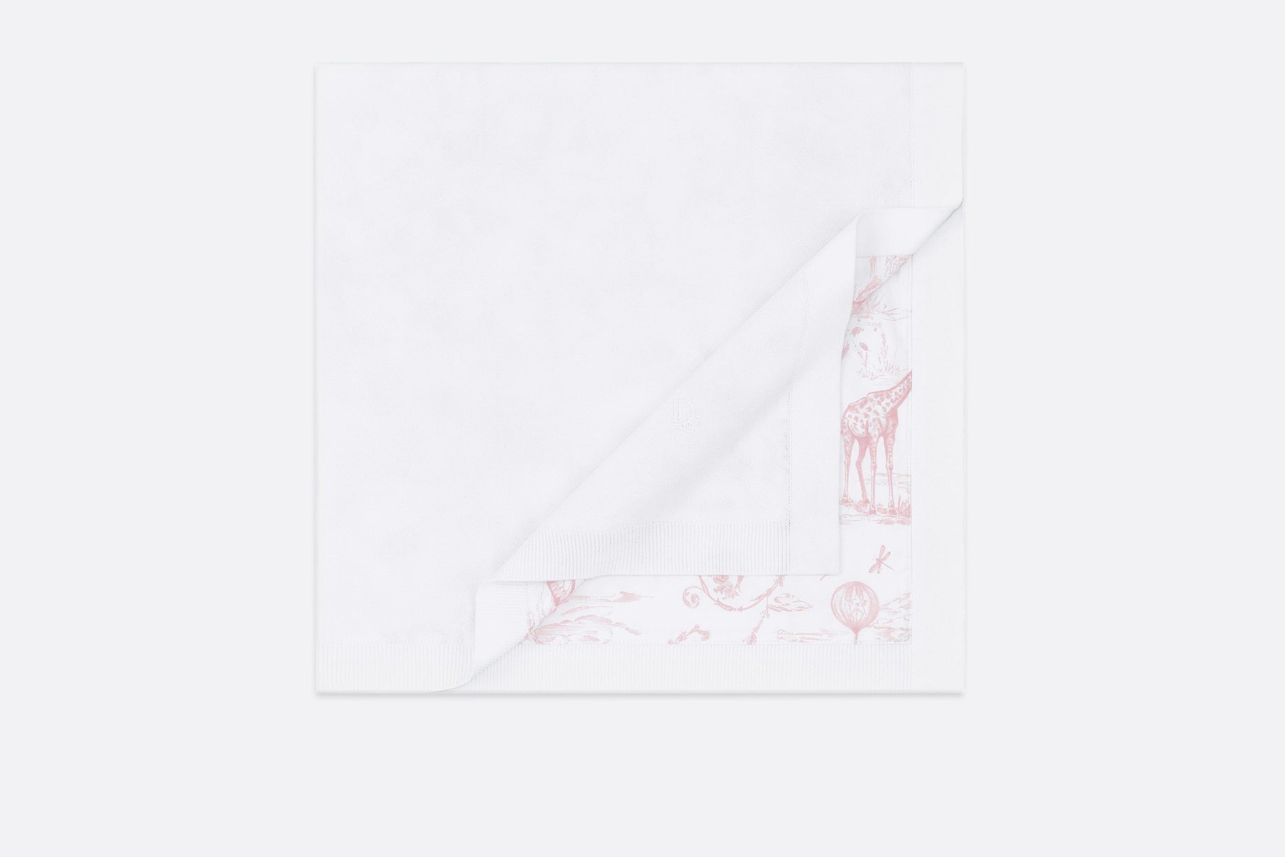 Blanket • White Cotton Knit with Powder Pink Toile de Jouy Print