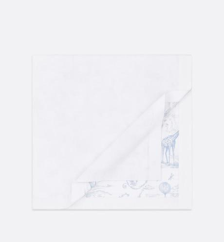 Blanket • White Cotton Knit Blanket with Pale Blue Toile de Jouy Print