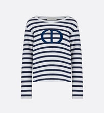 Load image into Gallery viewer, T-Shirt • White and Navy Blue Cotton Jersey