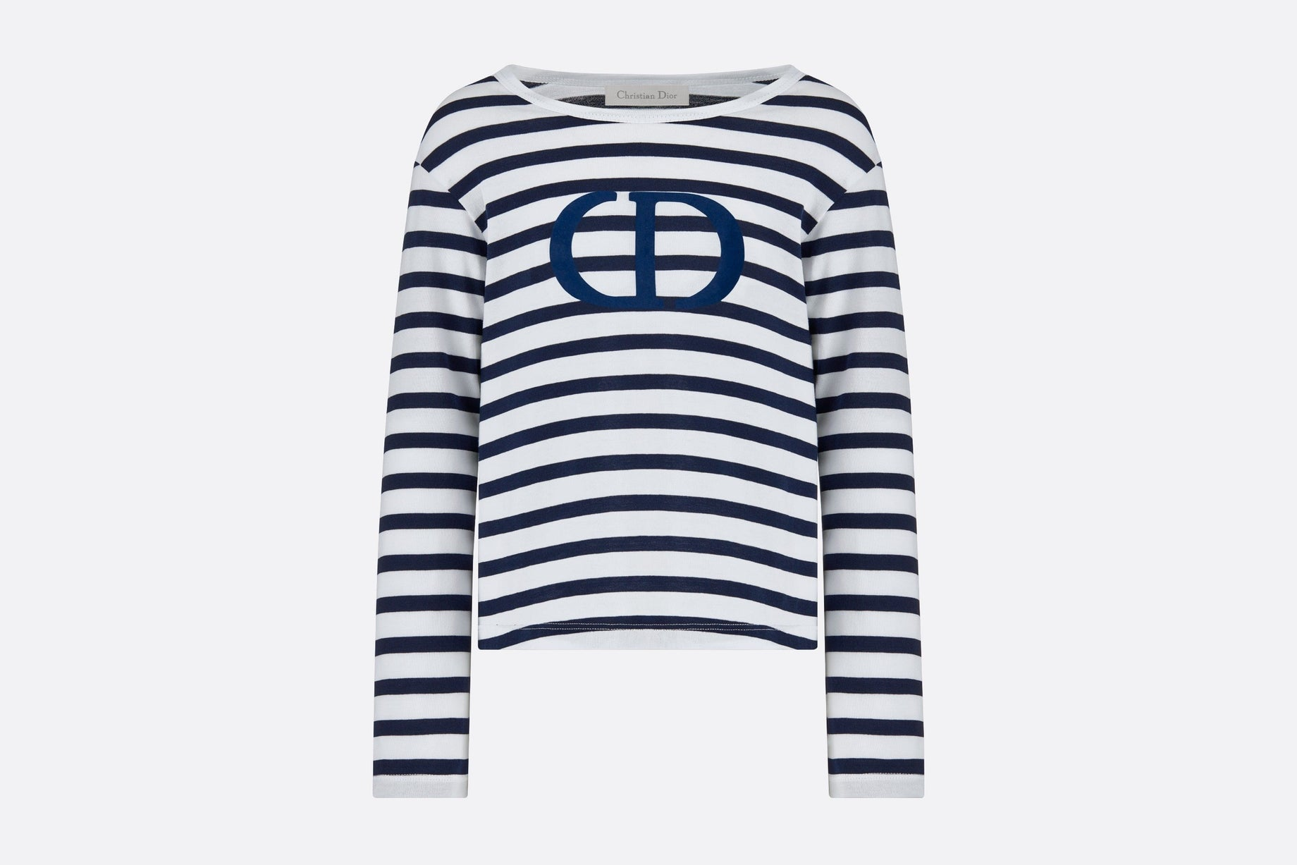 T-Shirt • White and Navy Blue Cotton Jersey