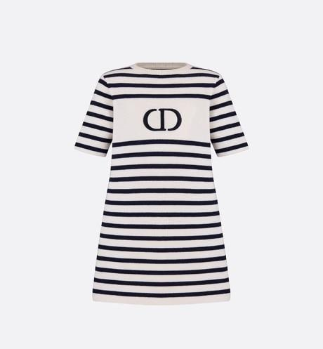 Dress • White and Navy Blue Cotton and Cashmere Knit