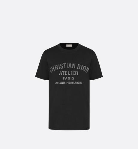 Oversized 'Christian Dior Atelier' T-Shirt • Black Cotton Jersey