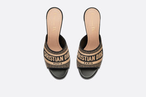 Dway Heeled Slide • Black and Beige Embroidered Cotton