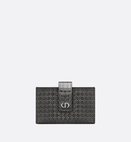 30 Montaigne 5-Gusset Card Holder • Metallic Black Microcannage Calfskin
