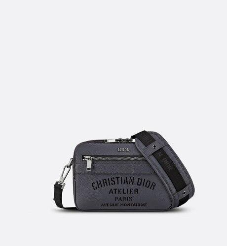 Safari Messenger Bag • Dark Gray Grained Calfskin with 'Christian Dior Atelier' Signature