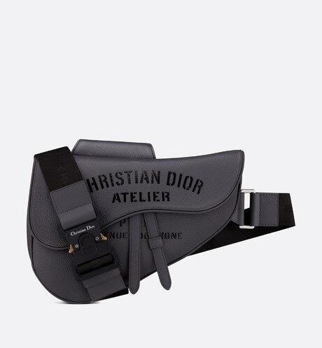 Saddle Bag • Dark Gray Grained Calfskin with 'Christian Dior Atelier' Signature