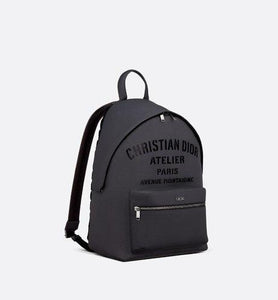 Rider Backpack • Dark Gray Grained Calfskin with 'Christian Dior Atelier' Signature
