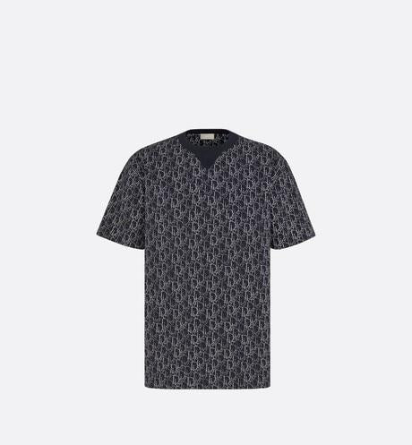 Oversized Dior Oblique Beaded T-shirt • Navy Blue Cotton Jersey