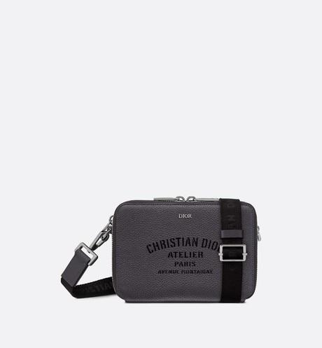 Christian Dior Atelier pouch • Dark gray grained calfskin