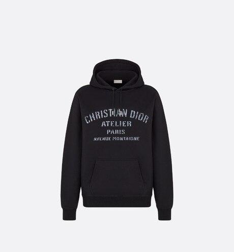 Oversized 'Christian Dior Atelier' Hooded Sweatshirt • Black Cotton Fleece