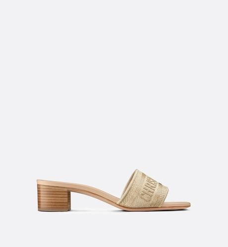 Dway Heeled Slide • Gold-Tone Metallic Thread Embroidered Cotton