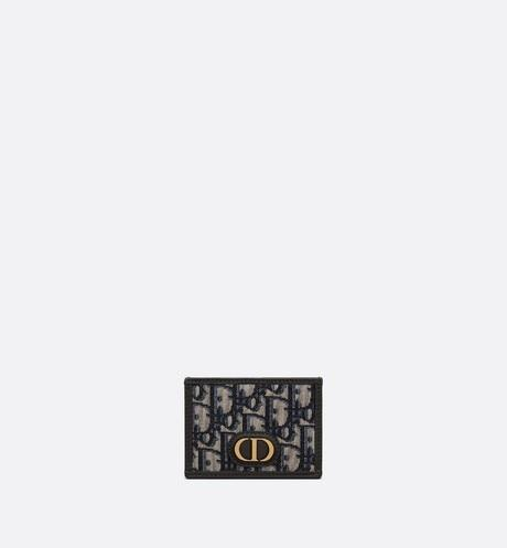 30 Montaigne Flat Card Holder • Blue Dior Oblique Jacquard