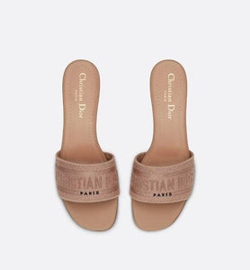 Dway Heeled Slide • Rose Des Vents Metallic Thread Embroidered Cotton