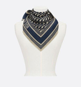 Dior Oblique Square Scarf • Navy Blue Silk Twill