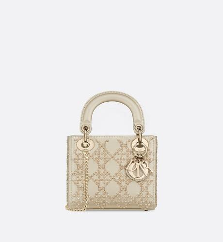 Mini Lady Dior Bag • Metallic Calfskin with Platinum Beaded Cannage Embroidery