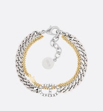 Load image into Gallery viewer, Clair D Lune Double Bracelet • Gold and Palladium-Finish Metal and White Crystals