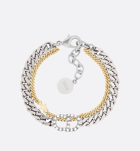 Clair D Lune Double Bracelet • Gold and Palladium-Finish Metal and White Crystals