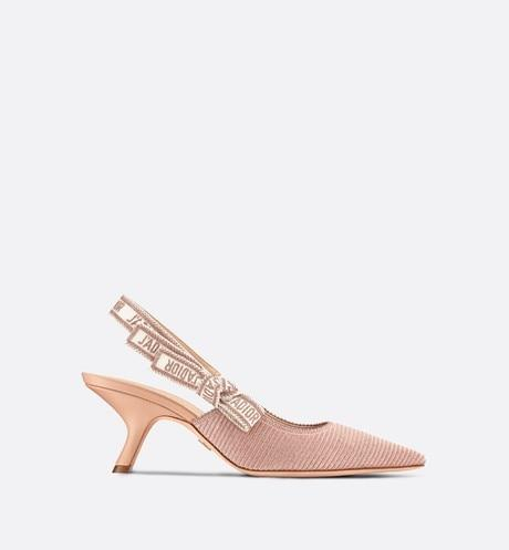 J'Adior Slingback Pump • Rose Des Vents Metallic Thread Embroidered Cotton