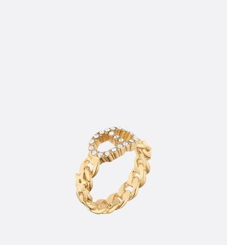 Clair D Lune Ring • Gold-Finish Metal and White Crystals