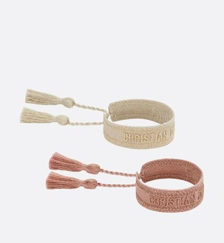 J'Adior Bracelet Set • Gold-Tone and Rose-Gold Metallic Cotton