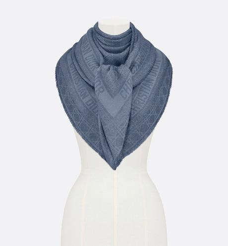 Dior Little Cannage Shawl • Light Blue Silk, Wool, Cashmere and Metallic Thread Jacquard